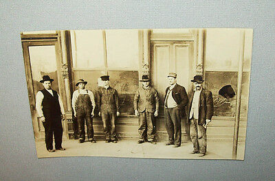 Early vtg 1900's WORKMEN GREAT CLOTHING rppc real photo post card jackets hats