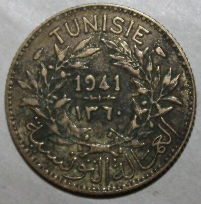 Tunisian 1 Franc Coin, 1941 (1360) - KM# 247 Tunisia Chambers of Commerce One