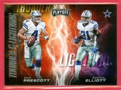 2017 PLAYOFF (FB) Dak Prescott/Ezekiel Elliott SP THUNDER & LIGHNING Card (#1)