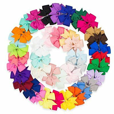 40pcs Kids Baby Girls Grosgrain Ribbon Alligator Colors Boutique Hair Bows Clip