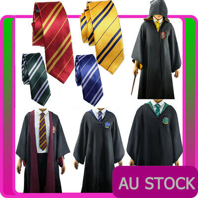 Mens Harry Potter Tie + Robe Costume Adults Cosplay Book Week School Day Outfit