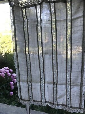 Antique French Lace And Linen Curtain Panel Handmade Lace .Wear repairs required
