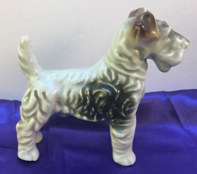 Vintage  Wired Hair Fox Terrier Porcelain Figurine So Cute
