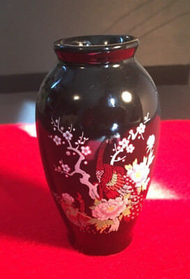 Vintage oriental mini vase - black with gold inlay, peacock and flower design
