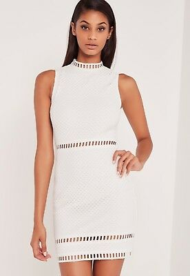 0b209e512095 MISSGUIDED carli bybel high neck lace bodycon dress white size 6 RRP 40.00!