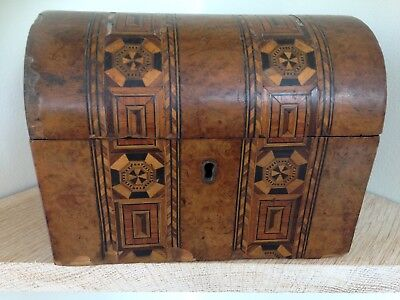 Antique /Vintage Domed Tea Caddy with Decorative Marquetry