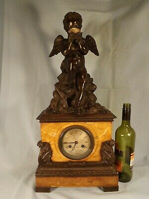 Magnificent Large French Bronze/Sienna Marble Clock C1850.
