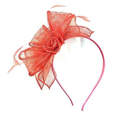 Ladies Coral Feather Fascinator Aliceband Hat Ladies Day Races Ascot Weddings 28
