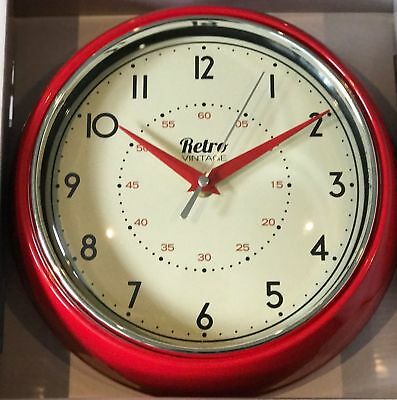 VINTAGE RETRO 50's STYLE METAL DINER WALL CLOCK OFFICE KITCHEN HOME -  RED