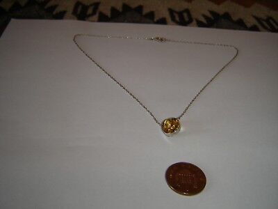 Edwardian sterling silver and citrine 16 inch necklace