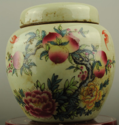 Collectible China Old Porcelain Painting peach and flower Storage Tank Pot Jars