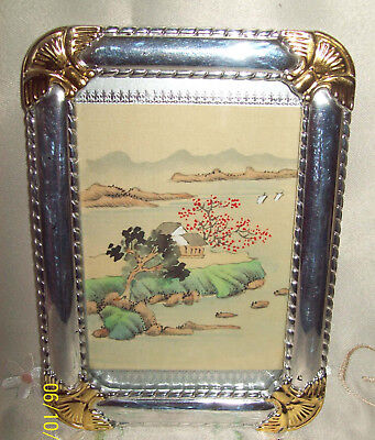 Small Framed Old Silk Handpainted Chinese Scene - 9 x 13cm