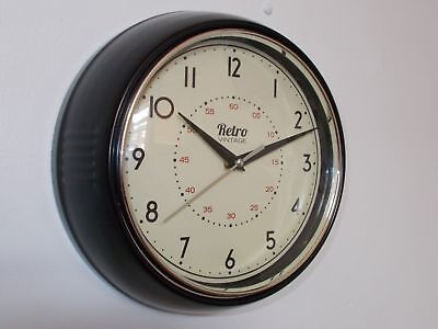 VINTAGE RETRO 50's STYLE METAL DINER WALL CLOCK OFFICE KITCHEN HOME -  BLACK