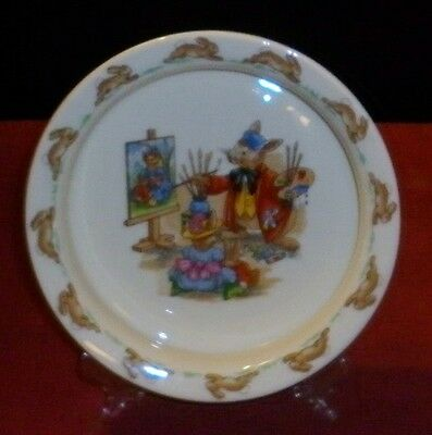 Vintage Bunnykins Art Class  Scene  Porcelain Baby Plate Excellent Condition