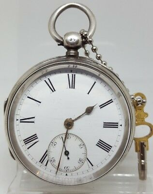 Antique solid silver gents W. Withington Taunton pocket watch 1879 working