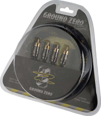 Ground Zero 1.14m Triple shielded braided Pi sized RCA Phono Cable GZCC 1.14X-TP