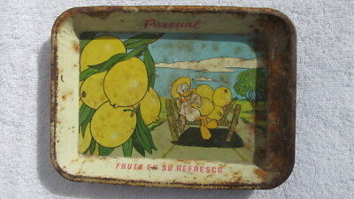 Vintage 1960's Pascual Boing Mexican Advertising Tip Tray Donald Duck Lemons