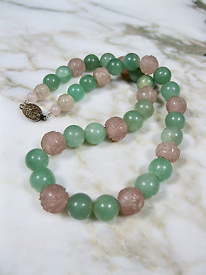 Antique Chinese Beaded Green Aventurine & Carved Pink Stone Shou Silver Necklace