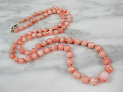 """Vtg Chinese Natural Pink Angel Skin Coral Beaded Necklace 14K Gold Clasp 22 3/4"""""""