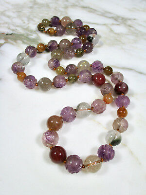 Large Antique Chinese Carved Amethyst Shou Rutilated Quartz Beaded Necklace