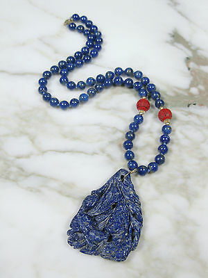 Antique Chinese Carved Red Cinnabar Lapis Lazuli Bead 14K Gold Pendant Necklace