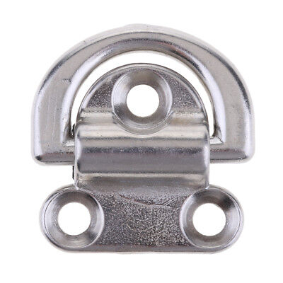 "Boat Folding Pad Eye, 1.8"" wide 5/16"" ring 316 Stainless Steel"
