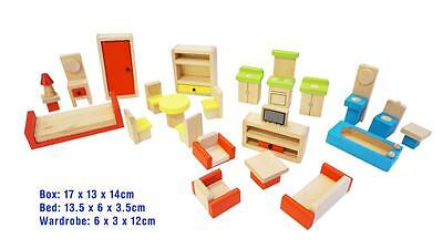 New 26Pcs Colourful Wooden Doll House Furnitures 5 Rooms Non-Toxic Paint