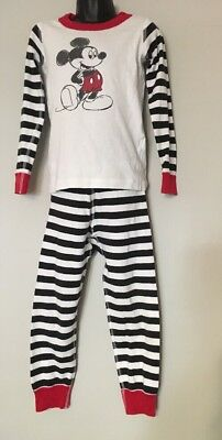 HANNA ANDERSSON DISNEY Pajamas 5 110 Mickey Mouse Long Johns Black White Red