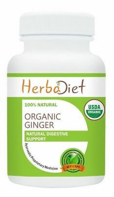 Organic Ginger Root 400mg Capsules Pills Digestion Indigestion Nausea Support