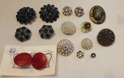 Vintage & Antique Lot of 16 Buttons  - Rhinestone, Cabochon, Lucite & Metal