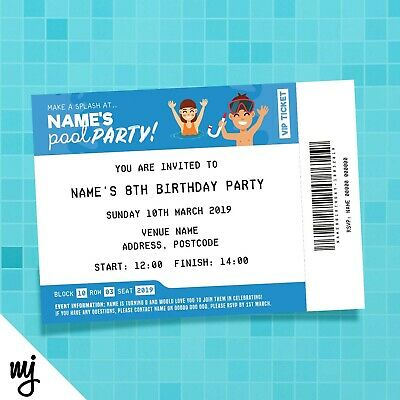 Personalised Pool Swimming Party Ticket Style Invitations