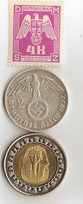 "-*WW2 - *german  SILVER coin/stamp + *us Steel penny + *egyp. ""king TUT"" coin"