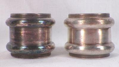 2 Antique Silverplate Napkin Rings Molded Circles Reeding #3