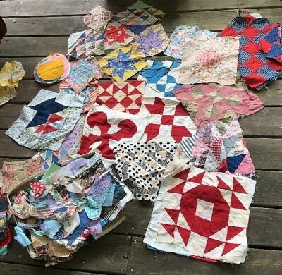 Over 3 lb Vtg 1930s-60s Misc Quilt Blocks Squares Hand & Machine Pieced Sewing