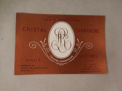 Champagne Label Louis Roederer Cristal ROSE 1975.  Never on Bottle.  Free Ship.