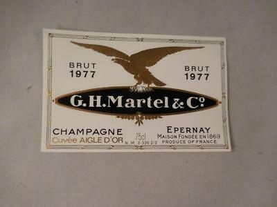 Champagne Label G.H. Martell 1977.  Never on Bottle.  Free Ship.