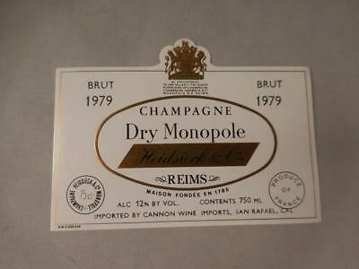 Champagne Label Heidseick Monopole 1979.  Never on Bottle.  Free Ship.