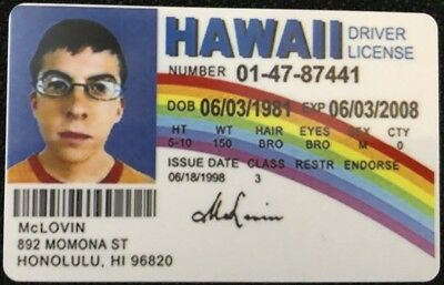 McLovin ID from Movie Superbad Fake Joke HIGH QUALITY
