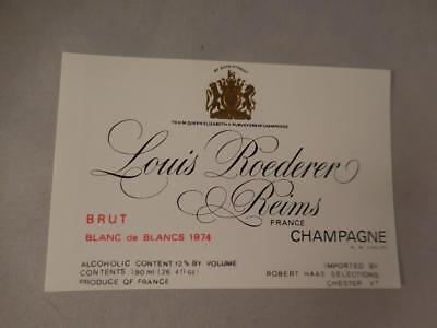 Champagne Label Louis Roederer Blanc de Blancs 1974.  Never on Bottle.Free Ship.