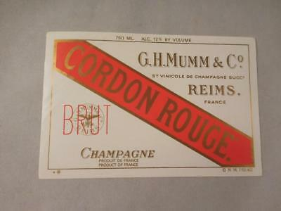 Champagne Label Mumm Cordon Rouge NV.  Never on Bottle.  Free Ship.