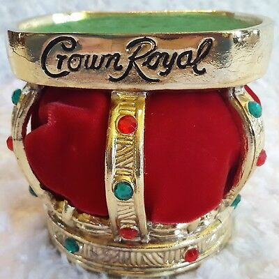 Vtg, CROWN ROYAL Jeweled Metal ADVERTISING DISPLAY STAND Whiskey Bottle Holder
