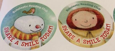 """NEW 32 SHARE A SMILE TODAY STICKERS Layn Marlow """"You Make Me Smile"""" Snowman Girl"""