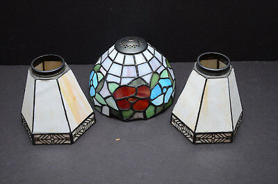 Set 3 Vintage Tiffany Style leaded stained slag glass lamp shades light lot