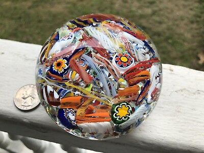 """vintage paperweight """"CRAZY"""" Millefiori Tossed Design Emb Clippership Logo"""