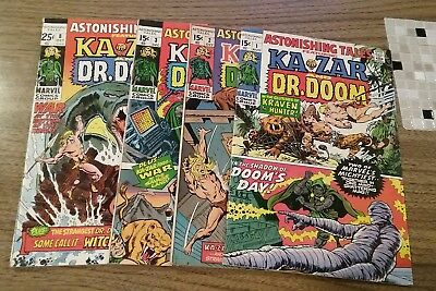 Astonishing Tales #1,2,3,8 (Marvel 1970) Nice Lot Wally Wood/barry Smith Art Vg