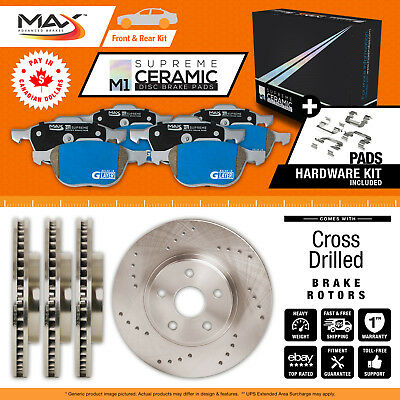 2013 2014 2015 2016 2017 Ram 1500 Cross Drilled Rotors AND M1 Ceramic Pads F+R