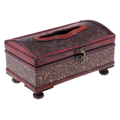 Chinese Retro China Old wooden leather Bronze lock Tissue box Grass Pattern