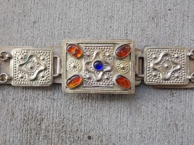 Antique Persian Silver Hand Made Belt with Baltic amber jewels from Iran, *RARE*