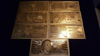 7Pc Gold Foil Banknotes, Not Real Currency, These Are Reproductions of US Money!