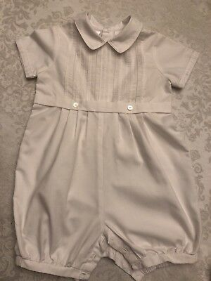Sarah Louise Infant Baby Boy Christening Baptism Solid White One Piece 12 Mo.